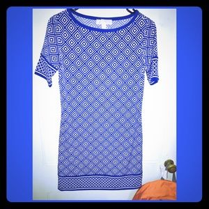 Royal blue and white short sleeve MK DRESS